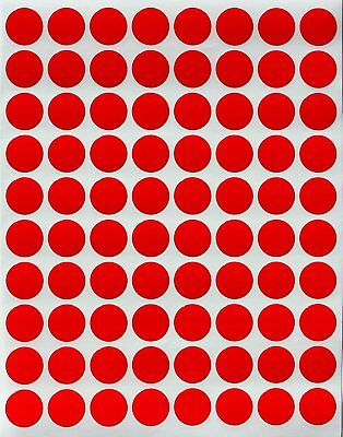 Red Color Stickers 13mm Round Dots Labels Permanent Adhesive Circles 400 Pack