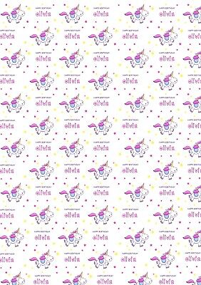 Personalised Unicorn Birthday Wrapping Paper with two tags.