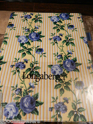 "Longaberger Lap Board Writing Organizer With Pen Holder Blue Flowers 12.5""x9.5"""
