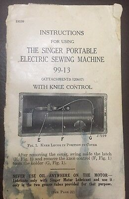 Vintage Singer Portable Electric Sewing Machine 99-13 Manual With Knee Control