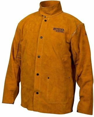 Lincoln Electric Brown Leather Welding Jacket Large Fire Resistant - 595