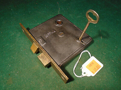 "VINTAGE RUSSWIN MORTISE LOCK w/ KEY - 5 3/16"" faceplate: RECONDITIONED! (4979)"