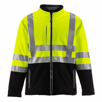 RefrigiWear Men's HiVis Soft Shell Jacket with High Visibilty Reflective Tape