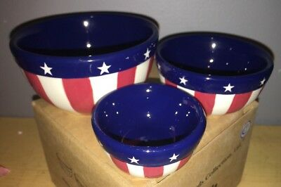 NIB NOS Madison's Patriotic Bowl Set by Boyds Bears #654649