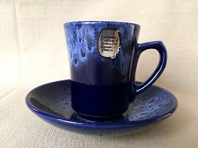 Lovely KERNEWEK COBALT BLUE Honeycomb  Coffee CUP and SAUCER - with sticker