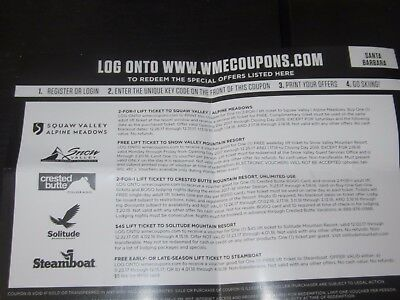 """Warren Miller """"ticket For Free Swag"""" Coupon, Lift Tickets -- 6 Ski Areas!!!"""