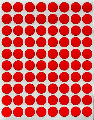 """Color Coded Red Dot Stickers 13mm Circle Round Labels 1/2"""" Inch Dots 1200 Pack"""