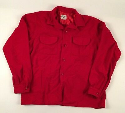 VTG Cranbrook Men's Wool RED Button LOOP COLLAR FLAP POCKET Shirt MEDIUM 15-15.5