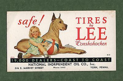 "LEE TIRES Unused Ink Blotter - 3½""x6¼"", Girl w/Great Dane Dog, York PA, VG Cond"