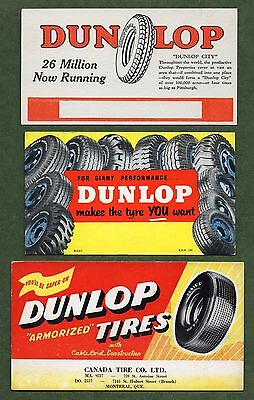 3 DUNLOP TIRES Unused Blotters - 1930's-50's, 1 British, 1 Canadian, Exc Cond