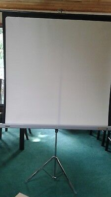 """Vintage Perlux Screen Projector with Stand 48x53"""" Heavy High Quality"""