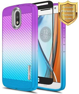 For Motorola Moto G4 | Hybrid Shockproof TPU Case Cover + Glass Screen Protector