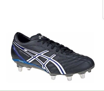 Asics Lethal Charge Rugby Boots Black / White / Electric Blue UK 8.5