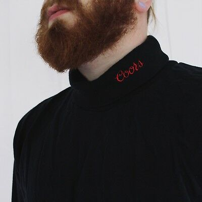 RARE Vintage Coors Beer Embroidered Spell Out Turtle Neck Budweiser XL