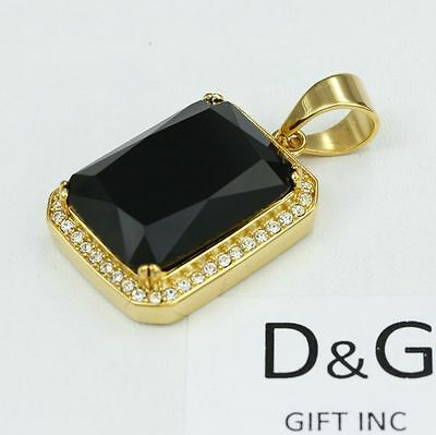DG Men's Stainless-Steel Gold.Black CZ Eternity Rectangle,Pendant Unisex*Box