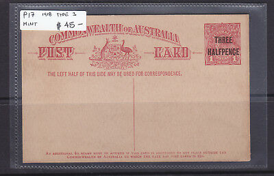 1918  1 1/2d ON 1d  RED  KGV  POSTAL CARD TYPE 3    MINT   P17