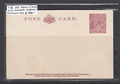 1919 1 1/2 d  BROWN ON WHITE  POSTAL CARD TYPE 3  MINT  P18  WITH FOOTNOTE RARE!