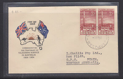 """Fdc: 1954 Telegraph Centenary  """"challis Cover"""" Posted To Himself!  Scarce!!!"""