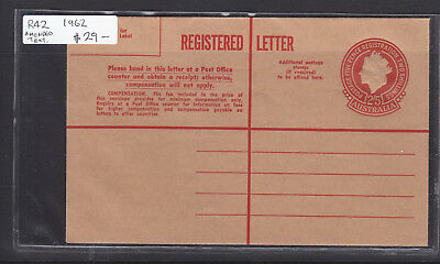 """1962  2/5  Registered Envelope Type 5 Qeii Embossed.  R42  Mint """"amended Text"""""""