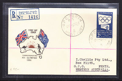 """Fdc: 1954  2/ Blue Olympics Reg,  """"challis Cover"""" Posted To Himself!  Scarce!!!"""