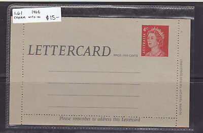 POSTAL STATIONARY:1966   L61  4c   RED CREAM WITH IN  QEII  LETTER CARD   MINT
