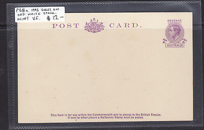 1943   2d  KGVI  VIOLET ON OFF WHITE   POSTAL CARD TYPE 5    MINT   P38a