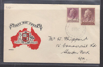 """FDC: 1957 1'7 + 4d QEII  ON   """"GUTHRIE COVER""""  VERY FINE AND SCARCE!!"""