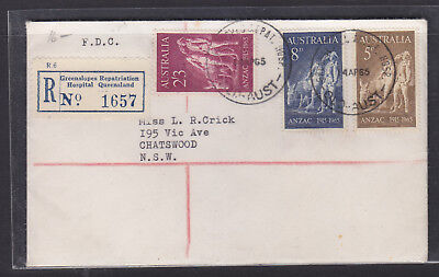 Fdc: 1965 Anzac  Set On Registered Greenslopes Hospital Label And Cancel.