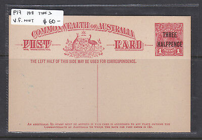 1918   1 1/2 d  ON 1d  RED      POSTAL CARD TYPE 3    MINT   P17