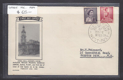 """FDC: 1959 QEII 4d AND 1d  ON   """"GUTHRIE COVER""""  VERY FINE CACHET AND SCARCE!!!"""
