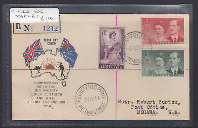 """Fdc: 1954 Royal Visit Register  On  """"challis Cover""""  Superb!! And Scarce!!!"""