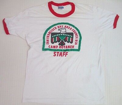 Vintage BSA Boy Scouts Camp Royaneh Staff Large T-Shirt - 1970's