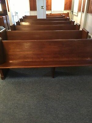 1950's church pews, mahogany in color, 8ft long, 3 ft high, in good condition