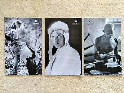 Vintage Lot (3) Apple Think Different Posters Goodall,Earhart Ghandi Laminated