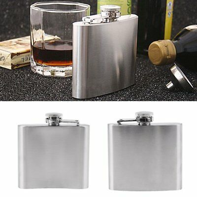 1/5//7oz Stainless Steel Pocket Hip Flask Funnel Cups Set Drink Bottle For Wine~