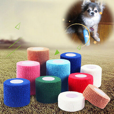 Pet Dog Cat Elastic Vet Wound Hurt Cohesive Bandage Self Adherent Wrap Tape#