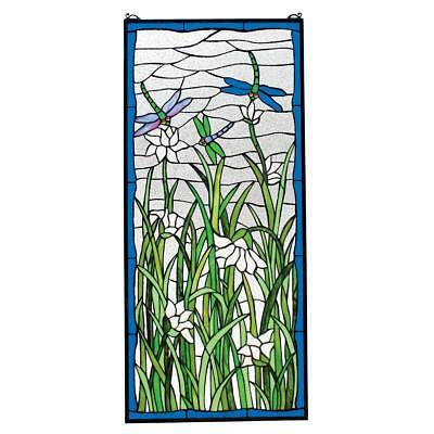 Stained Glass Panel - Dragonflies Dance Dragonfly Window Hangings Treatments