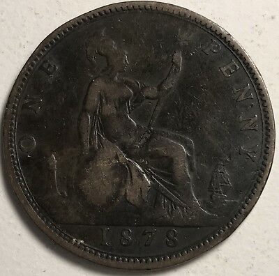 1878 Great Britain One penny world foreign coin good condition
