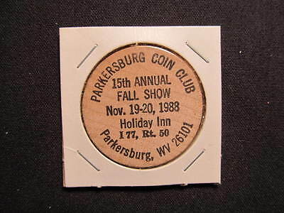 Parkersburg, West Virginia Wooden Nickel token - Annual Fall Coin Show Wood Coin