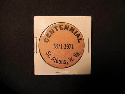 1971 St. Albans, West Virginia Wooden Nickel token-St. Albans WV 100th Wood Coin