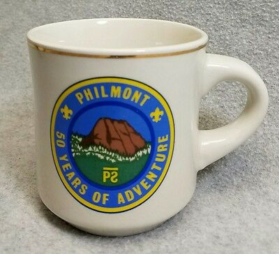 Vintage BSA Stoneware Coffee Cup Mug Philmont Boy Scout Ranch 50 Yrs 1988