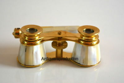 Antique Vintage Meritime Brass Mother Of Pearl Binocular Opera Glasses Binocular