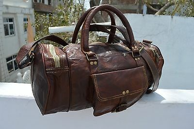 Men's Brown Vintage Genuine Leather Cowhide Travel Luggage Duffle Gym Bags