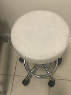 Beauty Salon Equipment , White Stool On Wheels Pick Up Only