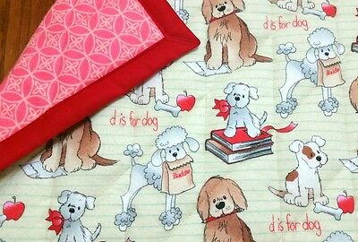 """HANDMADE, """"DOGS"""", 34x42in FLANNEL BABY/TODDLER  QUILTED BLANKET/COMFORTER-GIFT"""