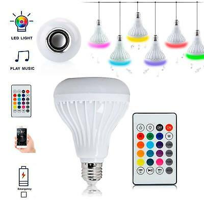 Bluetooth Speaker Music LED Light Bulb 12W RGB E27 Wireless Remote Playing Music