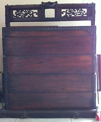 19/20C Chinese TRUNK BOX Bronze Stacking Wedding Chest Voyage 3'Tall TongMu