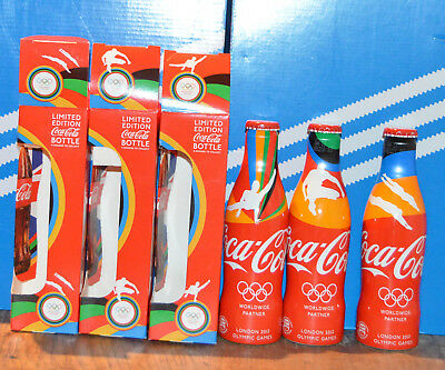 3 Coca cola aluminium bottles from Olympic games of london