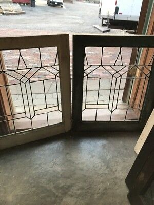 Sg 1697 Match Pair Antique Leaded Glass Fire Side Windows 20.5 X 25 H