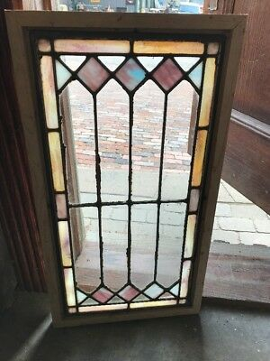 SG 1700 antique zinc stained glass transom window 16.5 x 30.5
